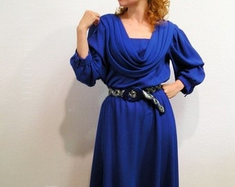 Vintage 70's Sapphire Blue Dress Draped Evening Cocktail Party Dress M/L