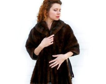 Long Mink Fur Stole / Vintage 1950s capetel / Brown mink fur cape shrug wrap / Hebblethwaite Hidden / Wedding bridal Fur