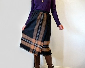 70s Wool Skirt Grey Plaid Fringe Haberdashery by Personal Winter skirt S