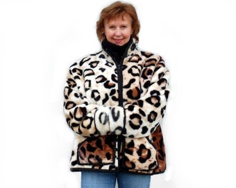 Leopard  Coat faux fur Animal Print Jacket Winter Coat X Large, 1X