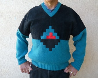 SALE Tribal Knit Sweater Aztec Suede Leather Vintage 60s Pioneer Wear Men Size M/L