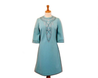 1960s Dress Blue Jersey Edith Flagg Silver Embroidered Designer Dress Size M/L