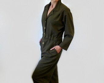 80s Jumpsuit Romper Button Up Women M