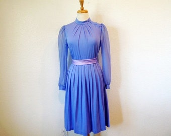1960s Pastel Purple Dress BOBBY'S Girl Vintage 60s Chiffon pleated Dress
