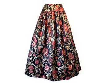 Vintage 70s Skirt Brocade Paisley Floral Metallic Gold, Scott McClintock Crinoline Holiday Party Skirt
