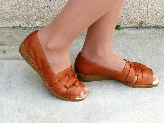 Huarache Brown Leather Cork Wedge Sandals 8M