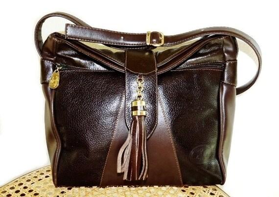 Vintage Brown Leather Tassel Hobo Shoulder Bag Made by LAYN BAGS