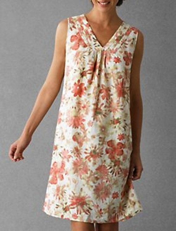 Linen Dress Coral Pink Floral Print Empire Waist Summer dress S/M