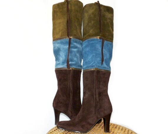 SALE Suede Leather Boots Multi Color Zipper Knee High 5B Made in Italy