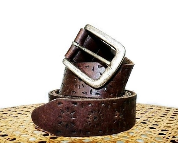 RESERVED for Yanella Vintage Brown Leather Tooled Belt Perry Ellis