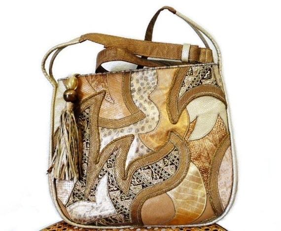 SALE Vintage 80s Bag Snakeskin Patckwork Sharif Leather Hobo Shoulder Bag Embroidered Satchel
