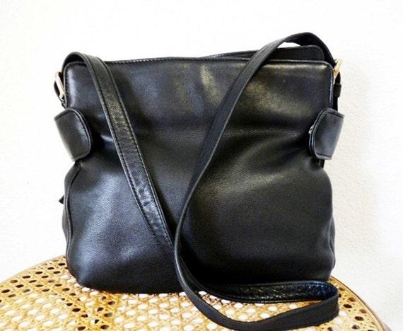 SALE Vintage 80s Black Leather Shoulder Bag, Hobo Tote Gold Tone Brass Buckle by BRIO