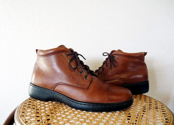 SALE Ankle Granny Boots Brown Leather Warm Lace Up  Women 8 1/2 M