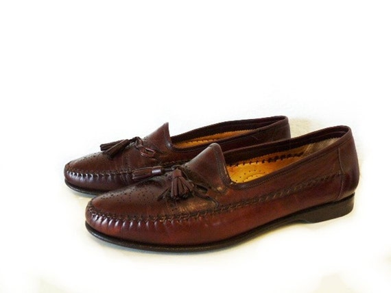 Mens Tassels Leather Shoes Wing tip loafer SANTANI Burgundy Made in Italy Men 8.5