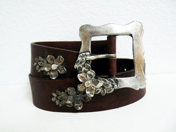 SALE Vintage 1960s Leather Belt  Brown Silver Flower Buckle EXPJeans Made in Italy