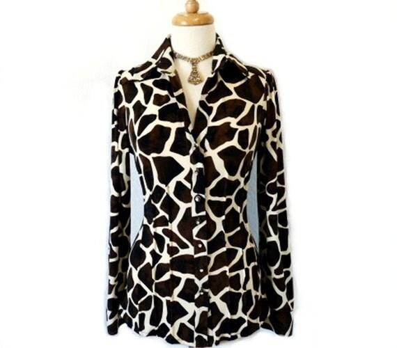 SALE Vintage 80s Blouse Leopard Long Sleeve Rhinestons Button