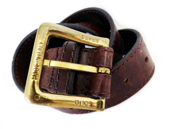 80s Brown Leather Belt Solid Brass Buckle Guess Wide Genuine Leather Made in Italy