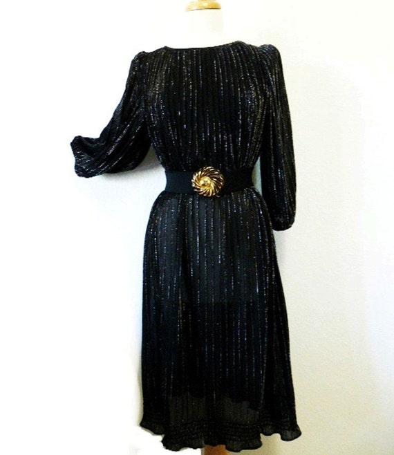 1970s Little Black Dress Micro Pleats Metallic Noir, Maternity Dress Evening Holiday Fashion Dress S/M