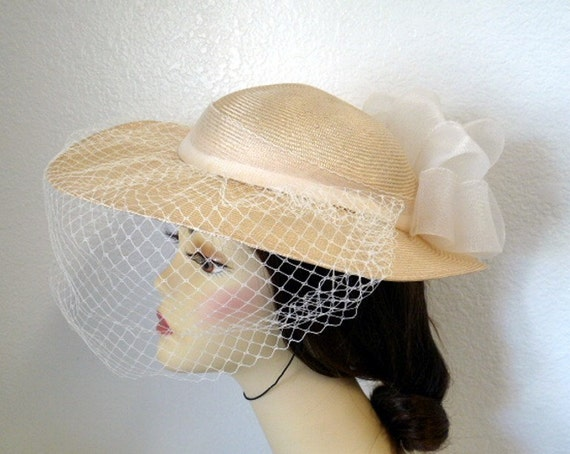 Vintage 1960s Straw Hat Wide Brim Veil Bow Wedding Bridal Church