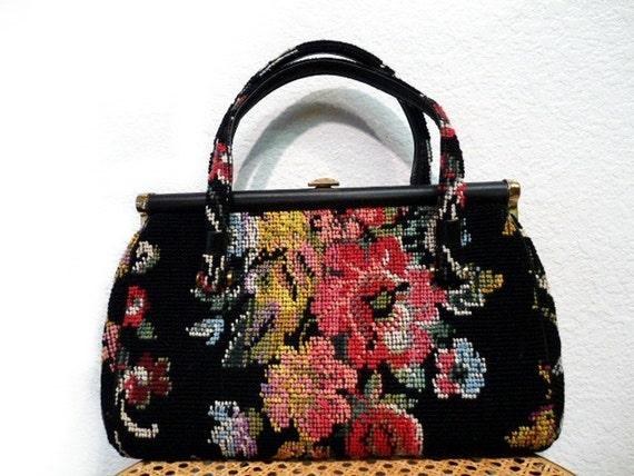 SALE Vintage 50s Needlepoint Handbag Carpet bag Tapestry Floral Large Purse by N/B