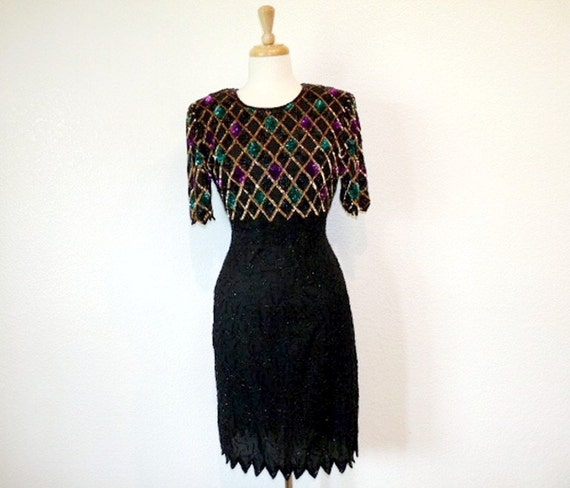 Vintage 80s Dress Black Beaded Sequin Silk Trophy MARK & JOHN by Gopal Party Holiday Dress Small