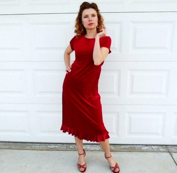 SALE Vintage 80s Red Velvet Dress My Michelle Ruffle Cocktail Evening Party Dress