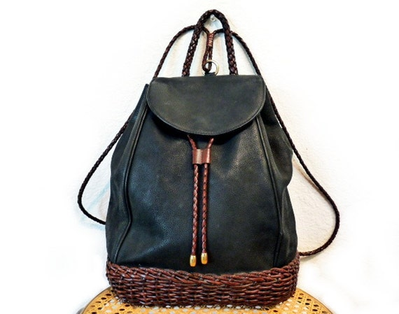 SALE Vintage CEM  Black Genuine Leather Drawstring Backpack Brown Woven Leather Made in Brazil