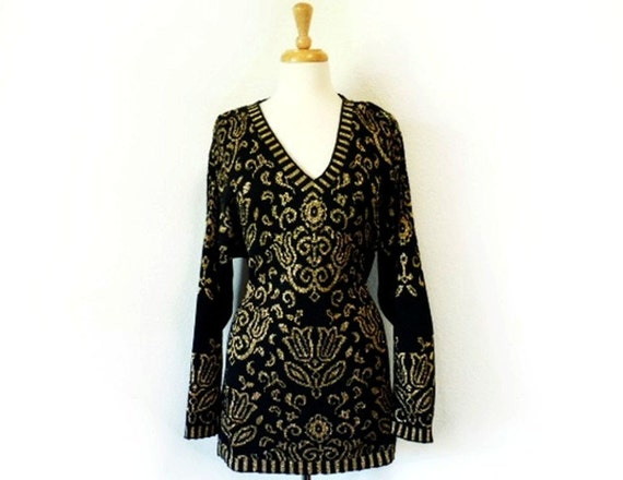 SALE Pierre Cardin Knit Sweater Vtg Lurex PaisleyTunic Dress  Black Cotton Gold  Pullover M