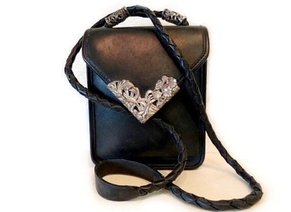 SALE Vintage 1980 Brighton Black Leather Bag Briefcase Satchel Shoulder Bag