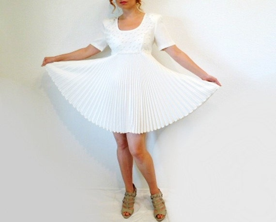 SALE Vintage Mini Dress White Pearls Accordion Pleats WILD ROSE Wedding Formal Cocktail Party Gown