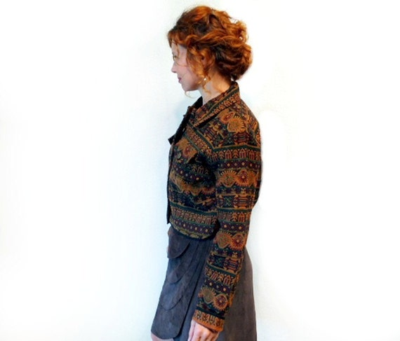 Denim Jacket 90s Aztec Tribal Button Up Hipster Fall Catton Coat Women S
