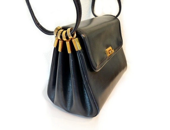 I. MAGNIN & CO. Original ROSENFELDVintage 50s Navy Leather Shoulder Bag Purse Gold Hardware