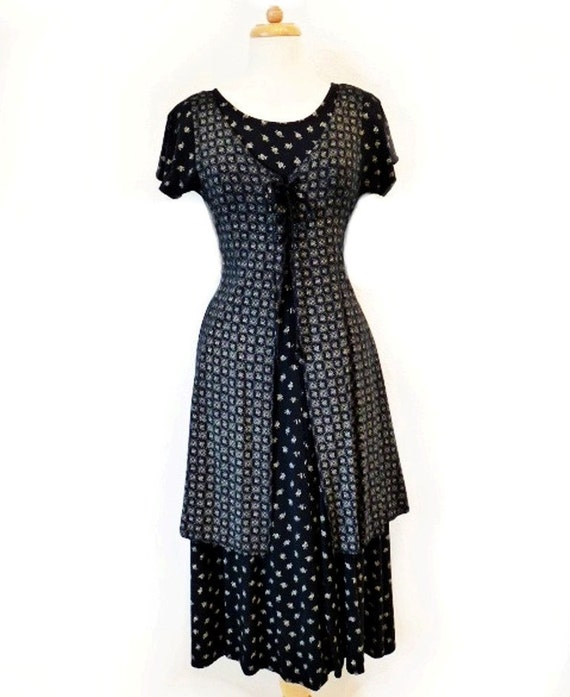 SALE Vintage 80s Dress Beautiful Black with White Floral All That Jazz Pin-up Party Dress