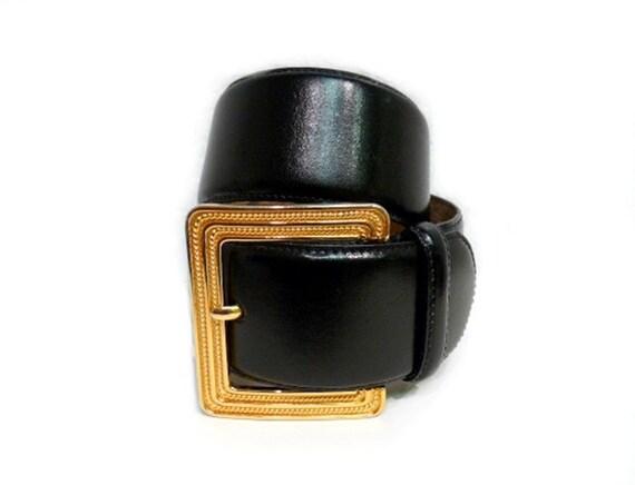 Vintage Black Belt Authentique Genuine Leather Wide  Liz Claiborne Gold Brass Buckle Belt