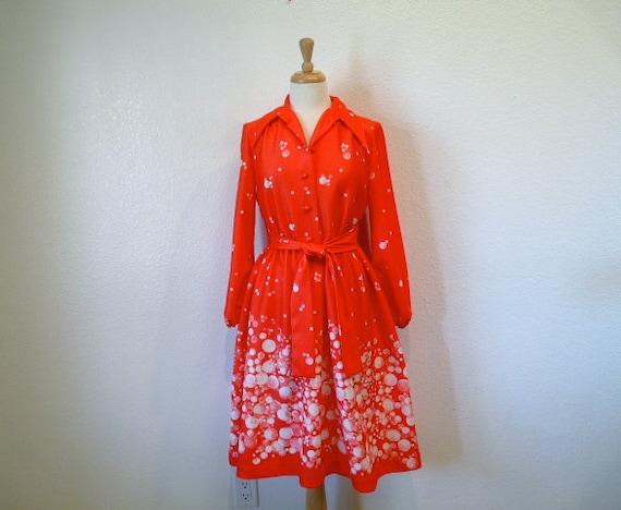 Vintage 1960s dress Coral Red Dandelion Pin-up Lorac Original Long sleeve Medium