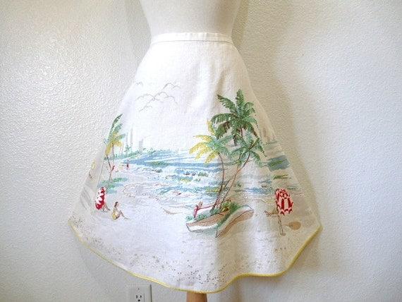 Vintage 80s Summer Skirt, Linen Circle Skirt Beach Vocation Swing J. CREW