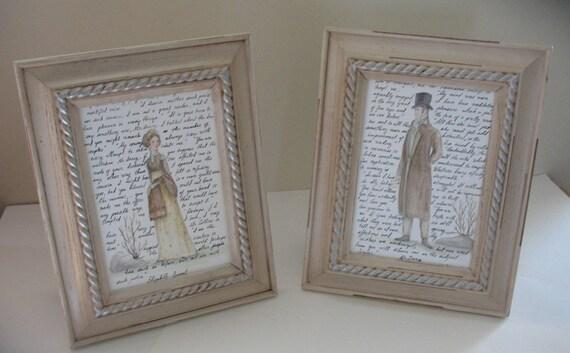 Mr.Darcy and Elizabeth Bennet Print Duo.  Set of two 5x7 prints. Pride and Prejudice.  Jane Austen.
