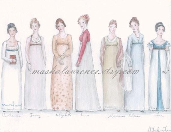 Jane Austen's Heroines 8x10 print. Pride and Prejudice.