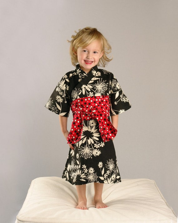 KIMONO DRESS - Black Floral Red Obi - sizes 0 through 4T - girls kimono dress