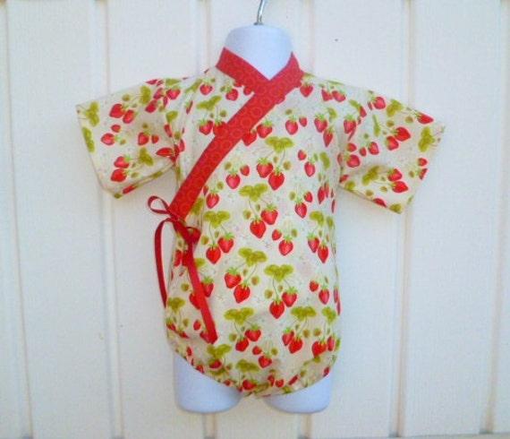 Kimono Bodysuit in STRAWBERRY FIELDS sizes 0 through 24 months - baby outfit