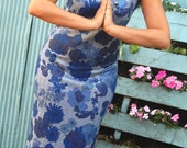 Vintage 1960's Asian Inspired Shimmery Silver and Blue Long Maxi Wiggle Dress