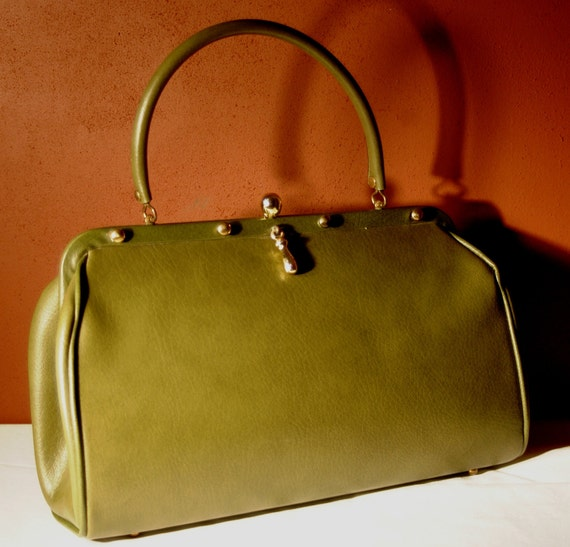 Vintage 1960's Mad Men Olive Green Large Kelly Bag by Markay Bags