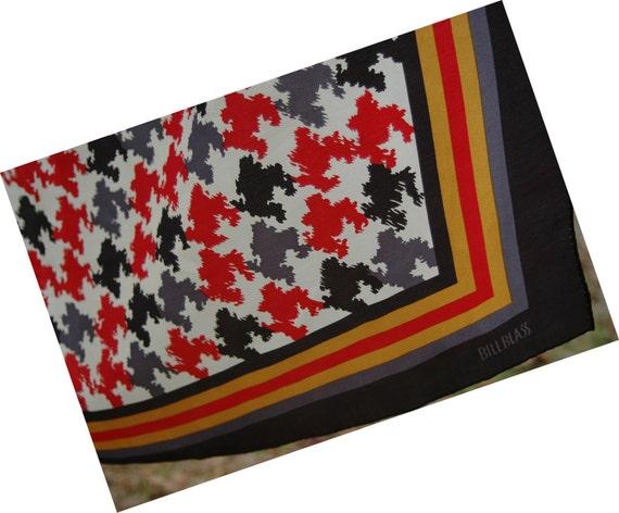 Vintage late 70's Bill Blass Dead Stock Silk Scarf