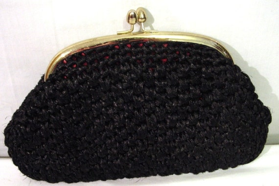 VINTAGE Mid Century Modern Black Crochet  Raffia Clutch Purse (Made in Japan)
