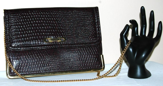70s MOD  Faux Snake Embossed Envelope Clutch with Gold Chain Strap