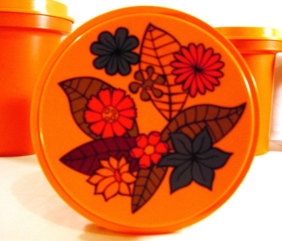 Kitchen Set Orange: Vintage Kitchen Decor 1967 Orange Cannister Set By TimeHopShop