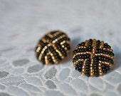 Gold/black beaded vintage button earrings