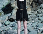 CELESTE - Black Lace Racerback with tube sweetheart Dress with Custom Buttons