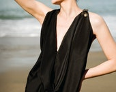 MARILYN - Black Cowl Neck Top with Custom Buttons and Zipper Back Detail