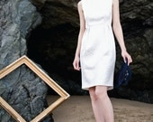 JUSTINE - White and Silver Italian Brocade Boatneck Dress